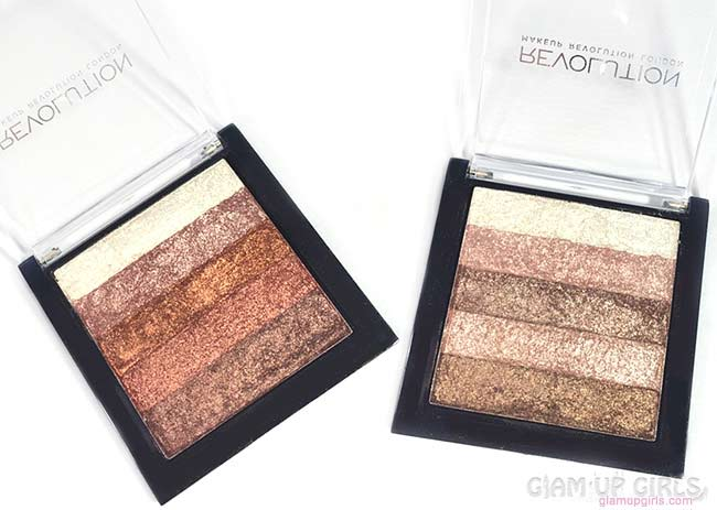 Makeup Revolution Vivid Shimmer Brick in Rose Gold and Radiant - Review and Swatches