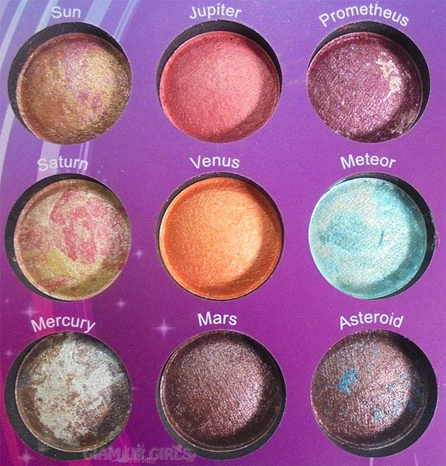 BH Cosmetics Galaxy Chic Eyeshadow Palette Left Side Shades
