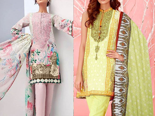 Khaddar and linen dresses of winter collection 2018