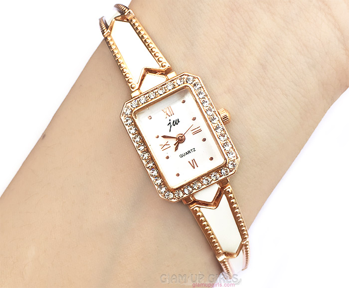 Elegant Women Ladies Rhinestone Stainless Steel Bracelet Quartz Wrist Watch