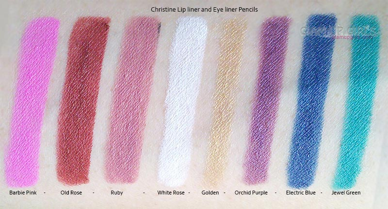 Christine Lip liner and Eye liner Pencils swatches from left to right, Barbie Pink - Old Rose - Ruby - White Rose - Golden - Orchid Purple - Electric Blue - Jewel Green