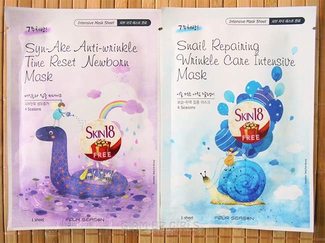 Four Season Snail Repairing Wrinkle Care Intensive Mask and Syn-ake Anti-Wrinkle Time Reset New Born Mask