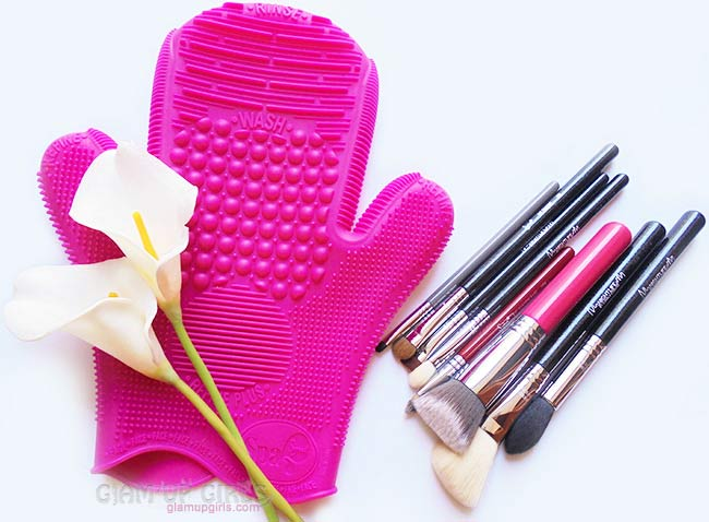 2X Sigma Spa Brush Cleaning Glove and clean brushes